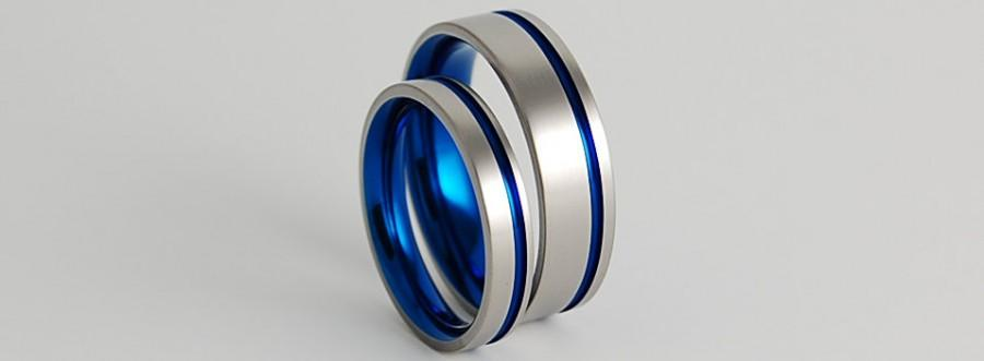 Wedding Bands Anium Rings Ring Set Band Promise The Cosmos In Nightfall Blue