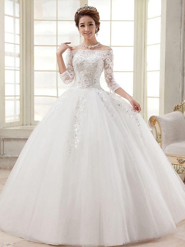 Three Quarter Sleeve Boat Neck Wedding Gown