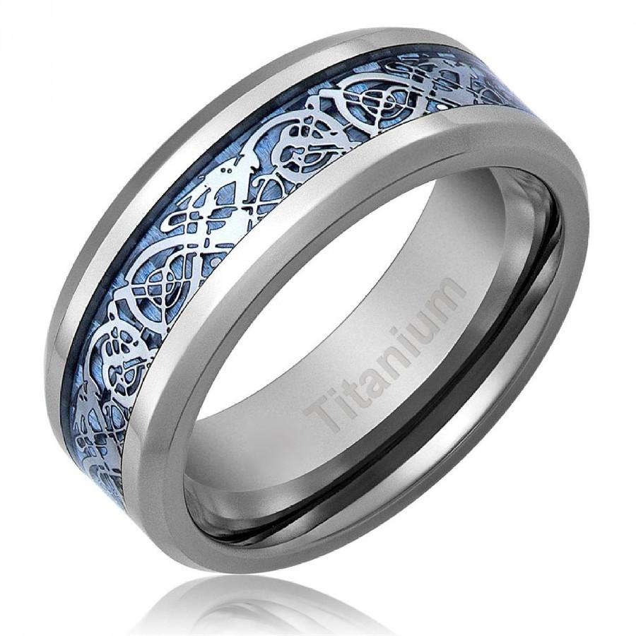 Men S Celtic Dragon Anium Wedding Ring Engagement Band Blue 8 Mm Comfort Fit