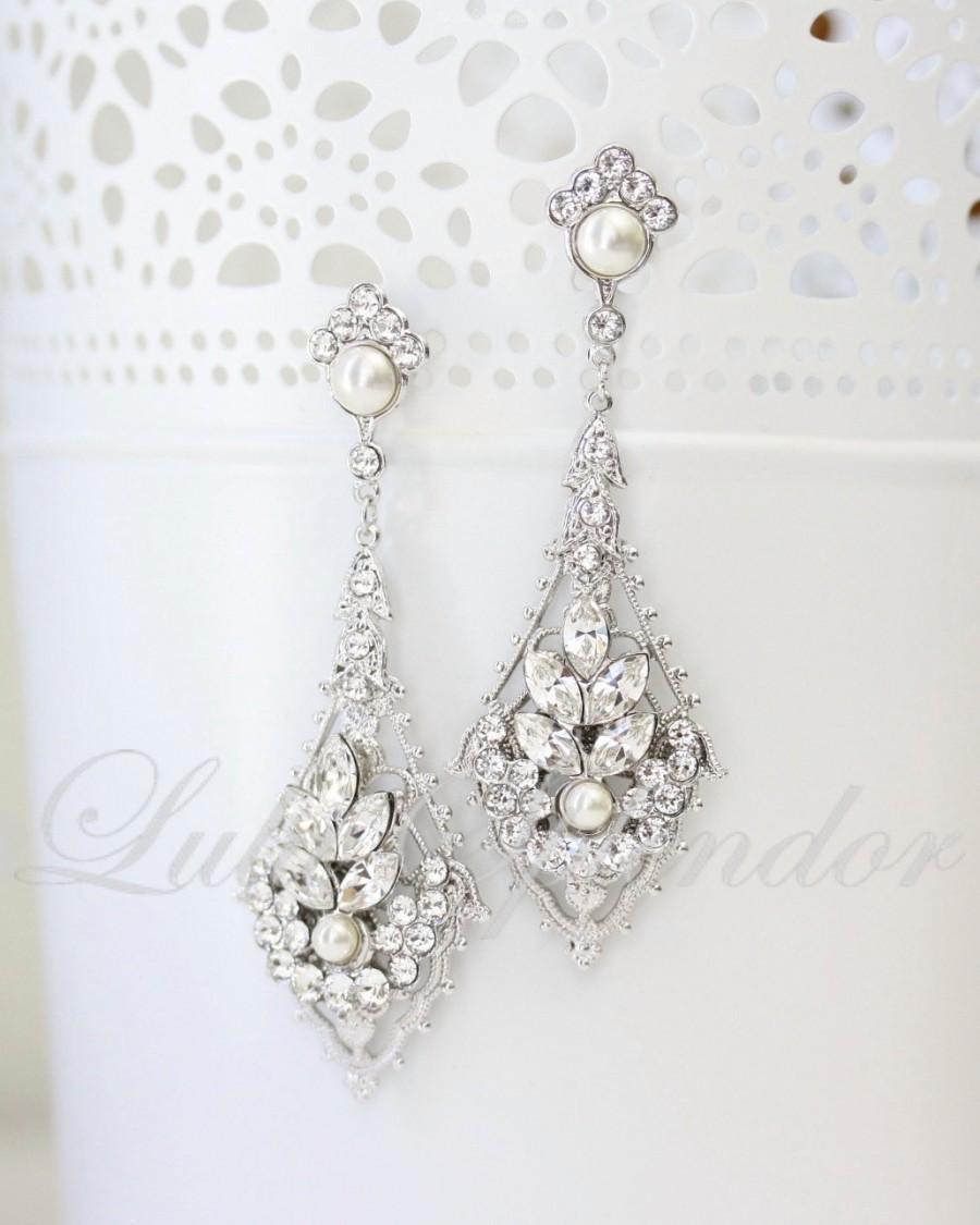 Chandelier Wedding Earrings Vintage Art Deco Bridal Pearl Crystal Jewelry Ursula