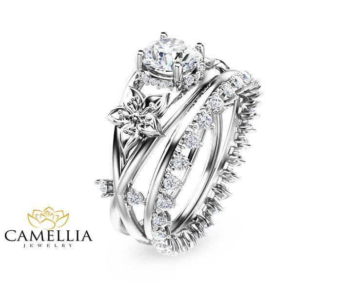 14k white gold enement ring set diamond art deco bridal - Flower Wedding Rings