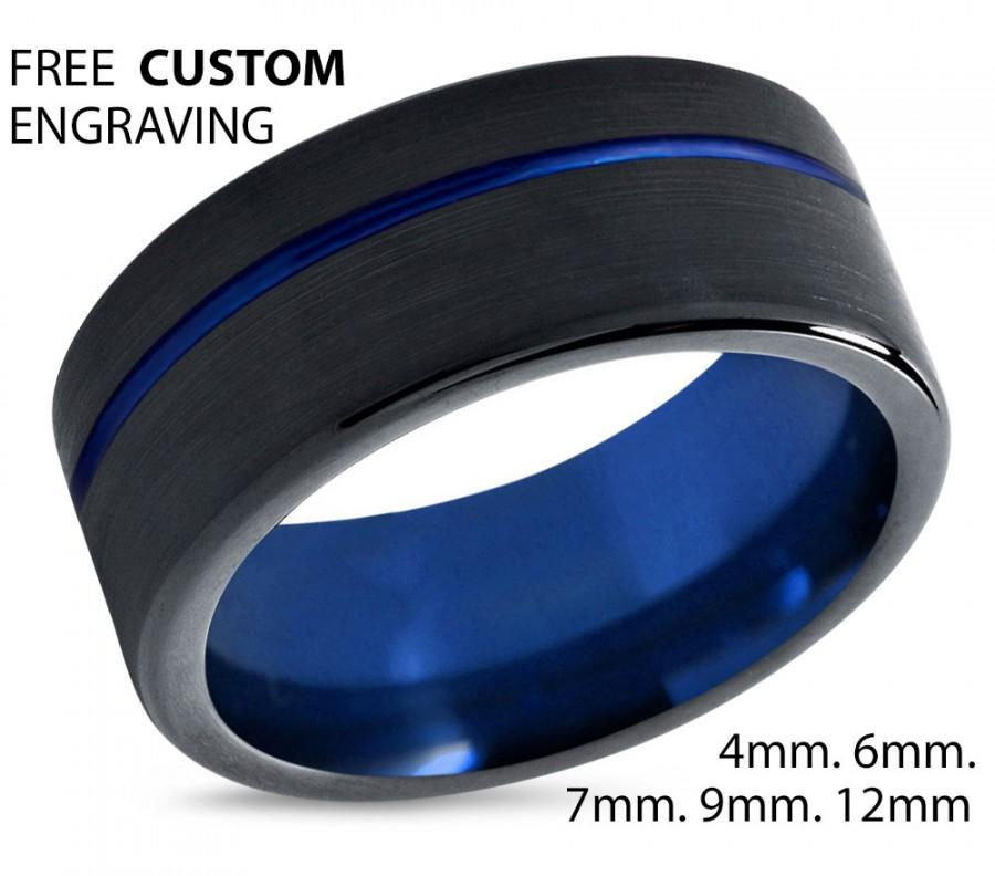 Tungsten Ring Mens Blue Black Wedding Band Carbide 9mm Man Male Women Anniversary Matching