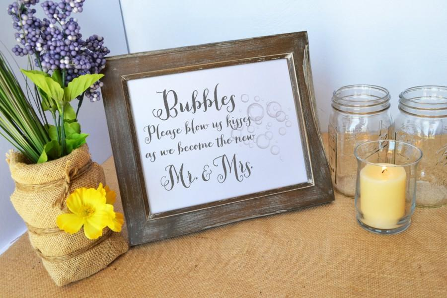 Wedding Bubbles Sign Bloew Us Kisses As We Become Mr And Mrs Bubble Send Off For Rustic Ceremony Favors
