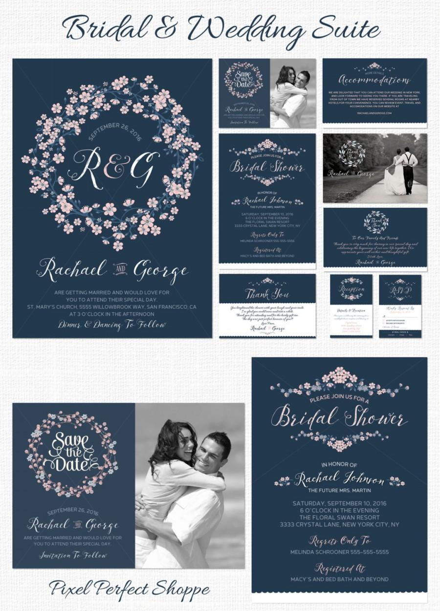 Wedding And Bridal Suite Invitations Shower Navy Blue