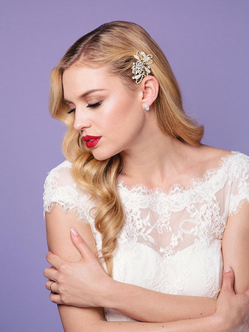 sale, wedding hair comb with rhinestones, wedding headpiece, gold