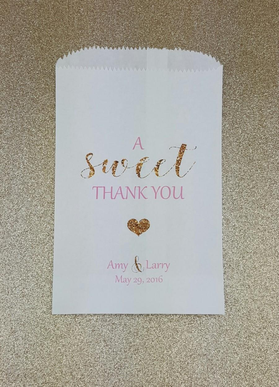 A Sweet Thank You Wedding Candy Bag Buffet Favor Bags Treat Quinceañera Kraft Personalized Glitter