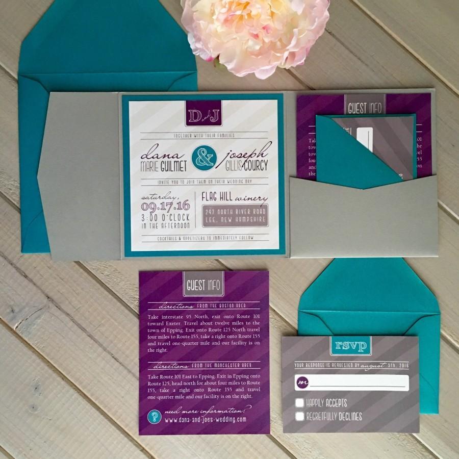 Modern Wedding Invitations Purple And Teal Unique Pocket