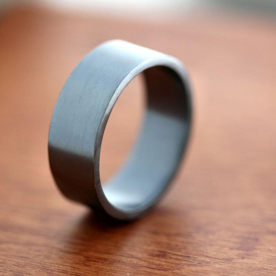 Men S Silver Wedding Band 8mm Wide Simple Flat Recycled Argentium Oxidized Sterling Ring Made In Your Size