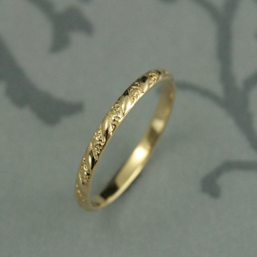Thin Yellow Gold Band Versailles Pattern Women S Wedding Ring Vintage Style Pee Solid