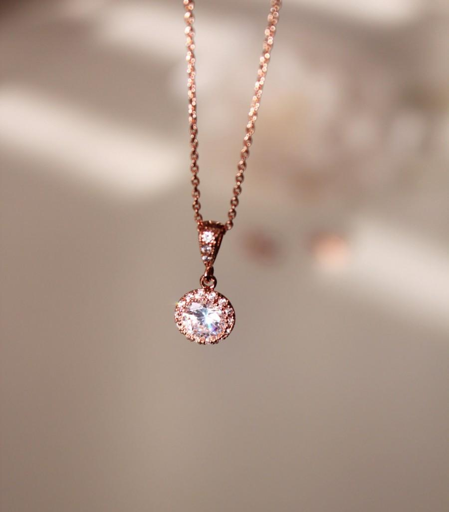 Delicate Necklace Pee Rose Gold Wedding Bridesmaid Gift Jewelry