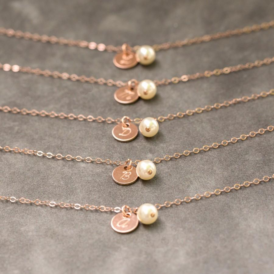Rose Gold Initial Bracelet Set Of 7, Dainty Bridesmaid Jewelry, Pink Rose Gold Personalized ...