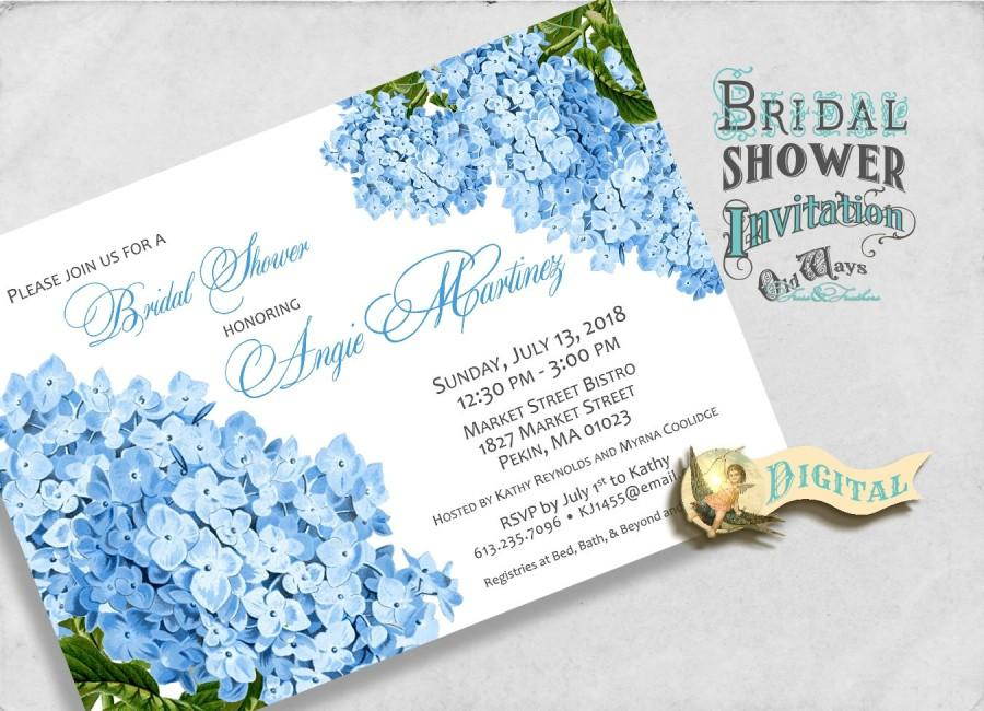 Printable Blue Hydrangea Bridal Shower Invitation Cottage Chic Vintage Flowers Custom Fl Invite Diy 5x7 Or 4x6 Digital File