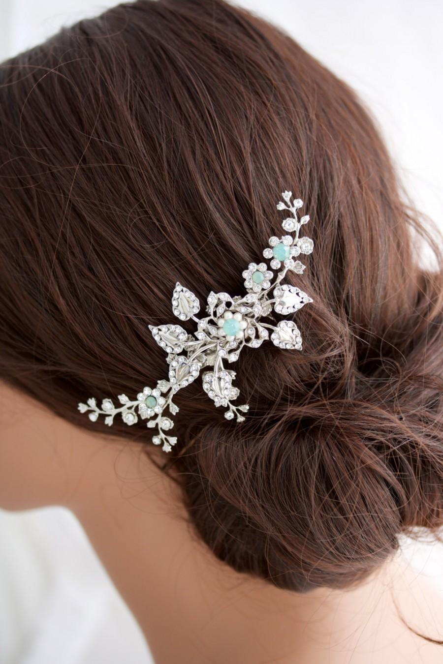 wedding hair comb wedding hair piece vine leaves and crystal