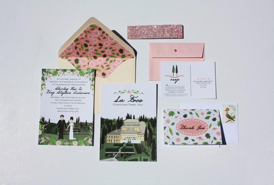 Invite Card Rsvp Map Reception Custom Ilrated Wedding Invitations Design Fee