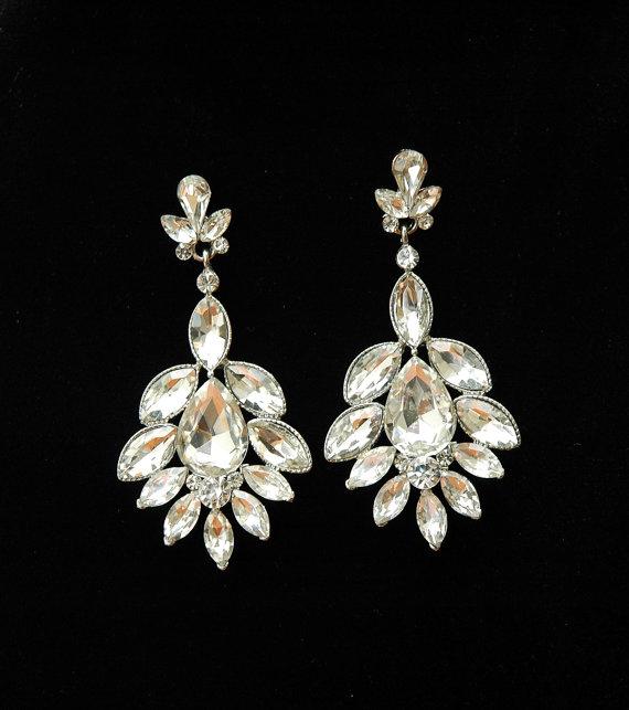 Wedding Earrings Bridal Jewelry 1920s Art Deco Rhinestone