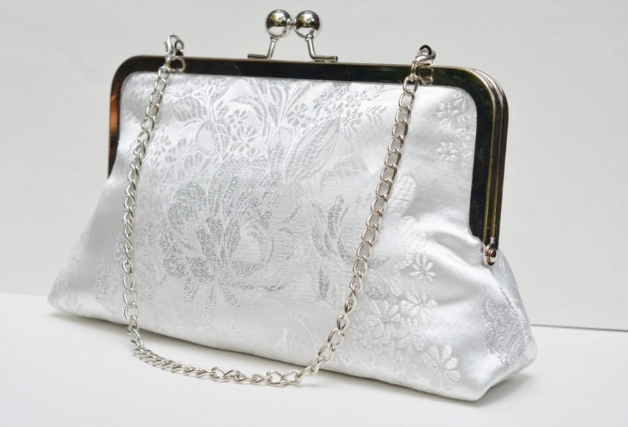 White Bloom Clic Clutch Bag Silk Lined Purse Bridal Accessory Wedding Day Bridesmaid Gift