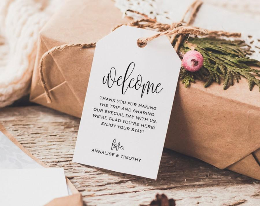 Welcome Wedding Tag Bag Gift Tags Favor Pdf Instant