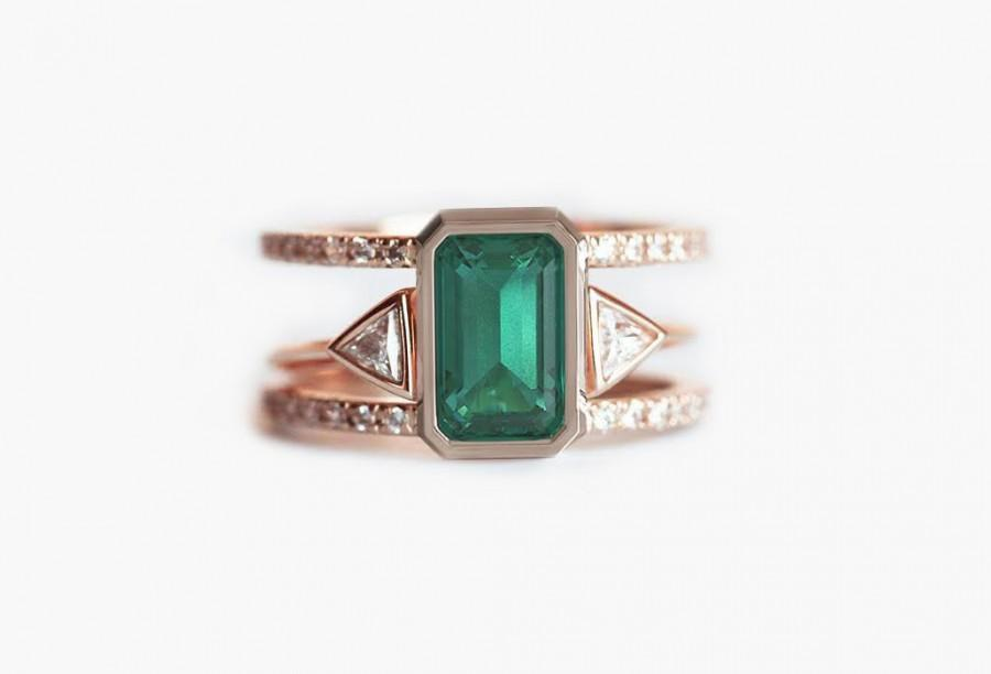 Emerald Engagement Ring Emerald Wedding Ring Set Rose Gold