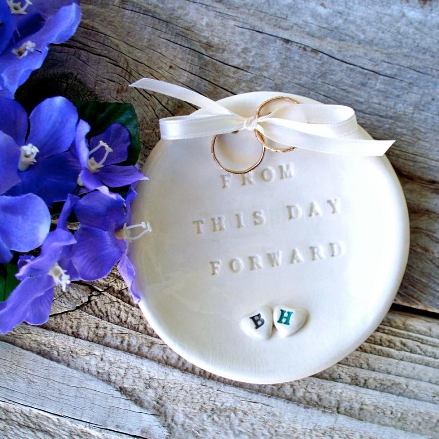 Ring Bearer Two Hearts Natural White Bowl Wedding Dish Holder Ceremony Pillow