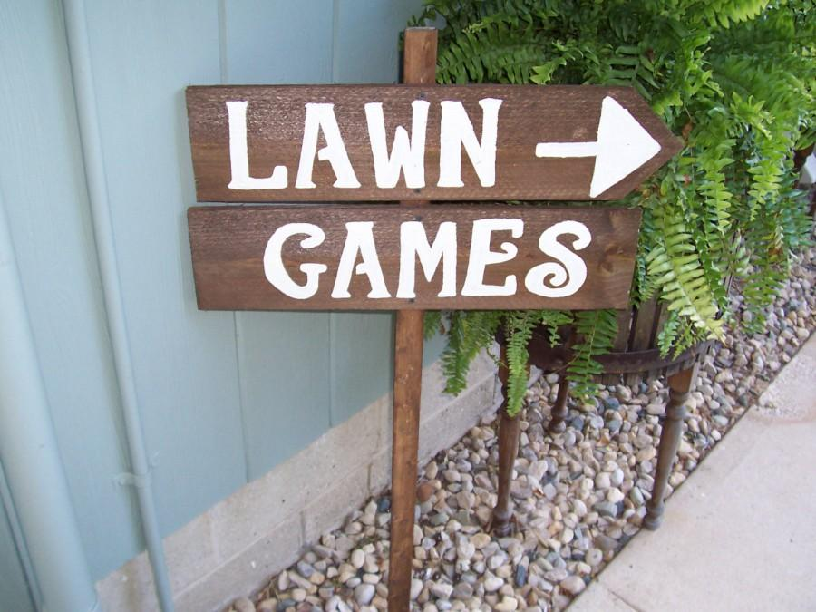 Wedding Lawn Signs Outdoor Weddings Yard Corn Hole Ladder Golf Rustic Back Wood Recycled Prop Party Sign