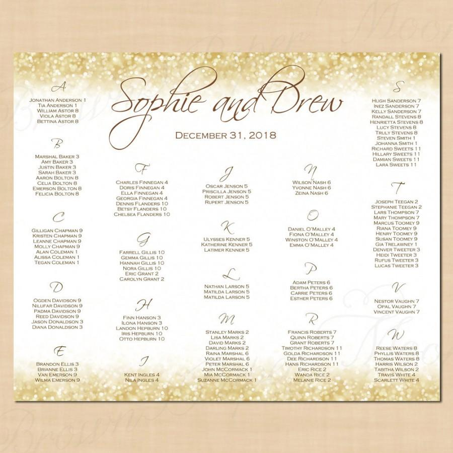 White Gold Sparkles Seating Chart Poster Table Number Alphabetical 22x18 Text Editable In Microsoft Word Printable Instant