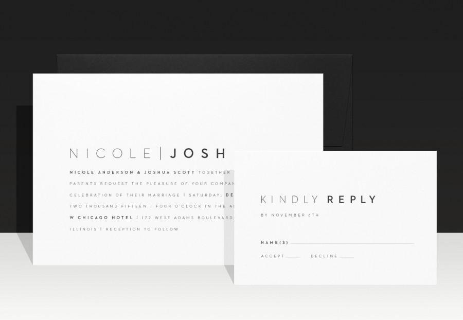 Simple Wedding Invitation Modern Designer Invitations Urban Minimalist Invites Black And White Nicole