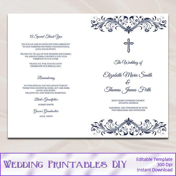 Catholic Wedding Program Template Diy Navy Blue Cross Ceremony Booklet Folded Church Programs Editable Text Instant Word Pdf P53