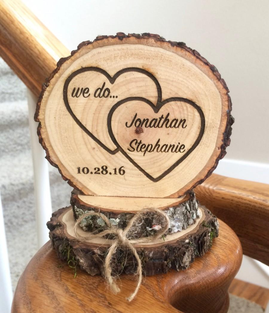 Rustic Wedding Cake Topper Wood Heart Engraved Custom Barn Keepsake