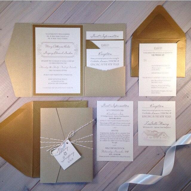 Light Gold Wedding Invitations Champagne Ivory Pocket Shimmer