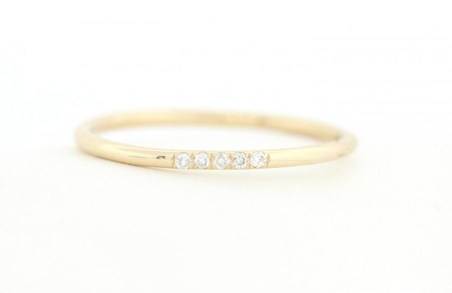 Perfect 14K Solid Gold Micro Pave Diamond Wedding Band, Diamond Wedding  CK74