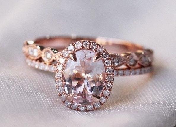 Oval Morganite Diamond Halo Engagement Ring Rose Gold Art Deco Wedding Set