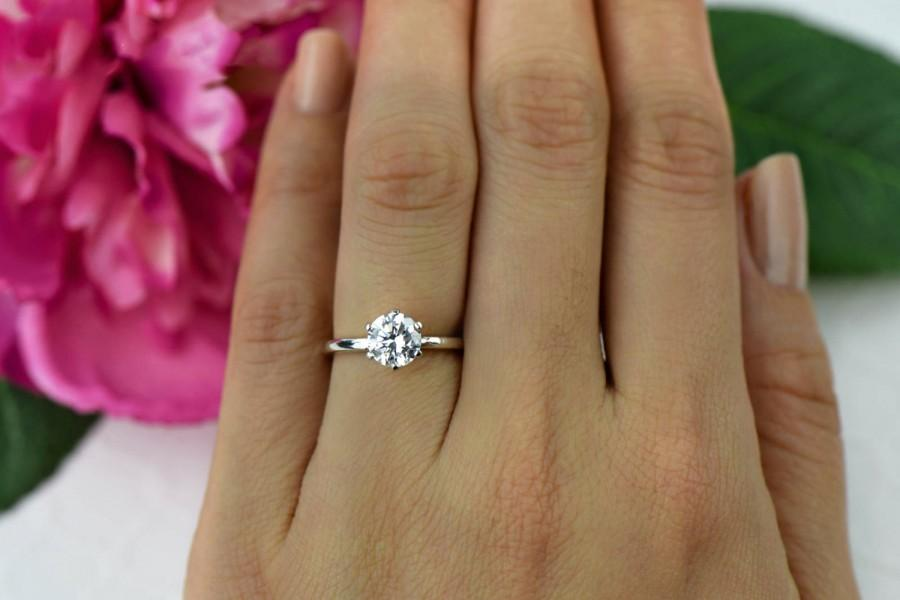 e Left 1 Ct 14k White Gold 6 Prong Solitaire Ring Engagement