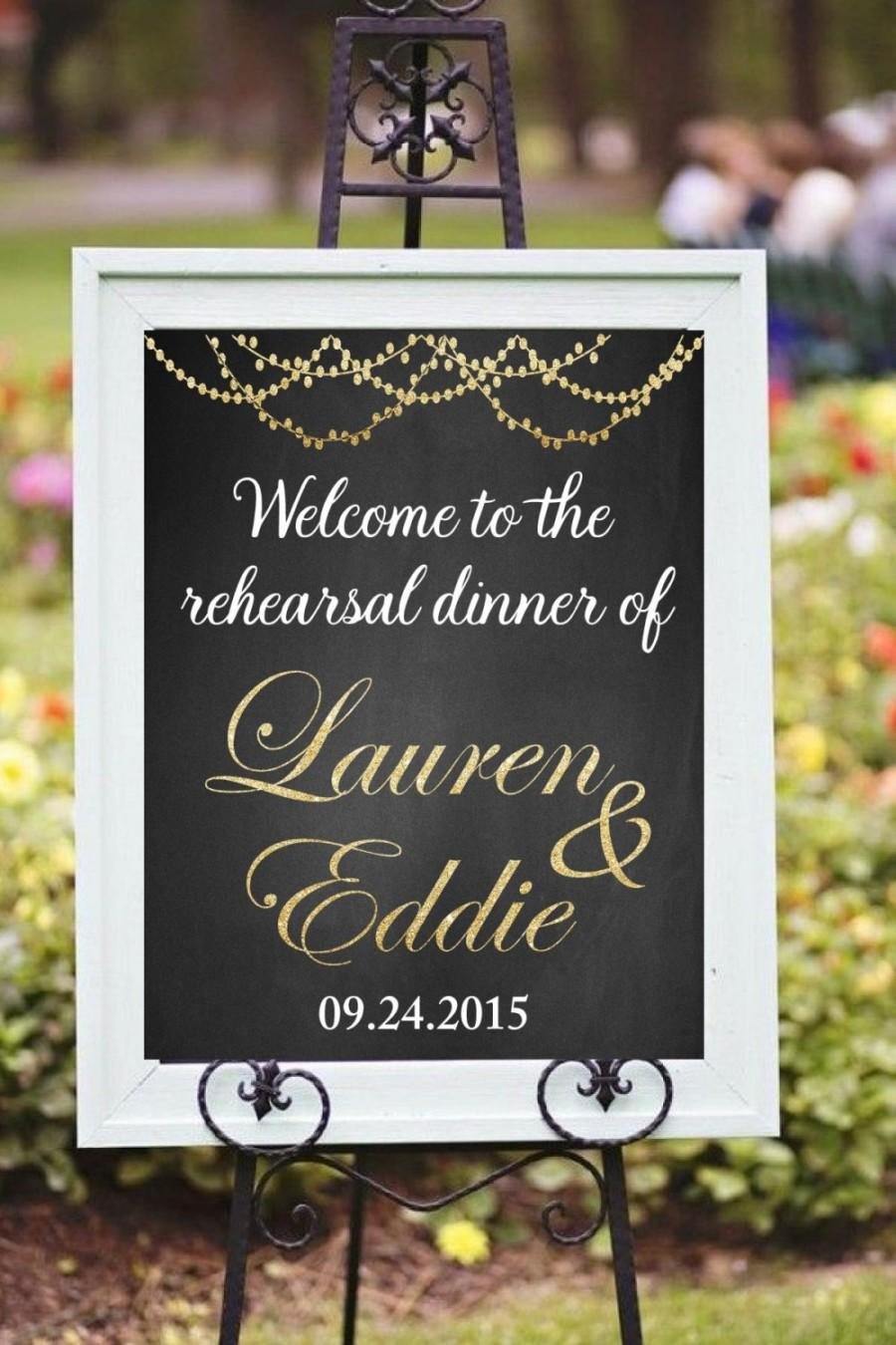 Printable Rehearsal Dinner Decor Diy Welcome Sign Custom Chalkboard Golden Glitter Wedding Signs