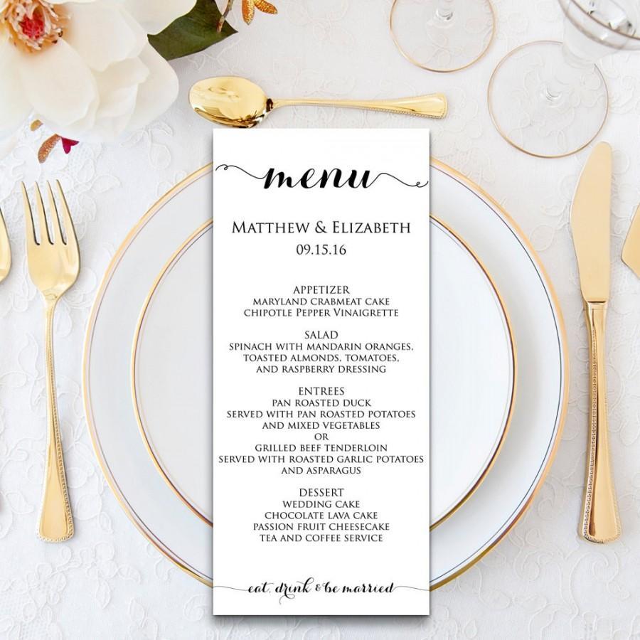 Wedding Menu Template Cards Printable Formal Dinner Pdf Instant Wbwd3