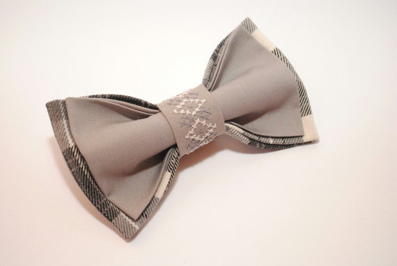 Men S Grey Bow Tie Plaid Outfits Bowtie For Stylish Gift Him Office Gifts Aniversary Her Embroidered Acessories