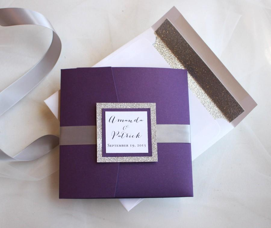 Glitter Wedding Invitations Silver Invites Purple And Sparkling Violette Pocketfold Invite Sample