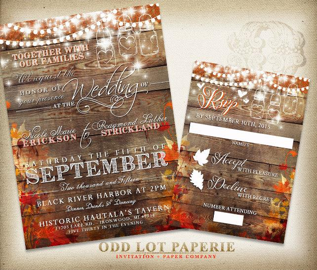 Rustic Wedding Invitation Fall Invite Country Mason Jar String Lights Leaves Diy Printable Set