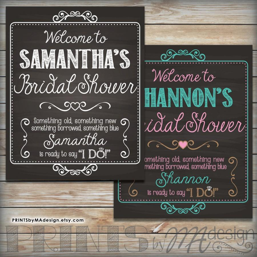 Bridal Shower Sign Personalized Welcome Poster Custom Wedding Chalkboard Digital Printable File