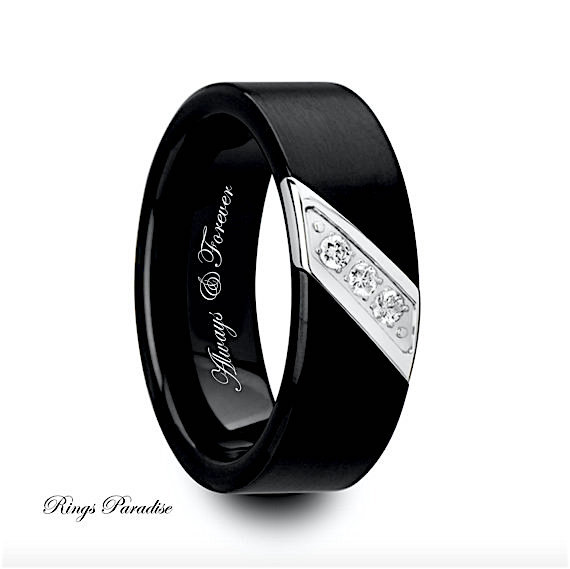 Mens Wedding Bands Engagement Ring Black Tungsten Band His Promise Diamond