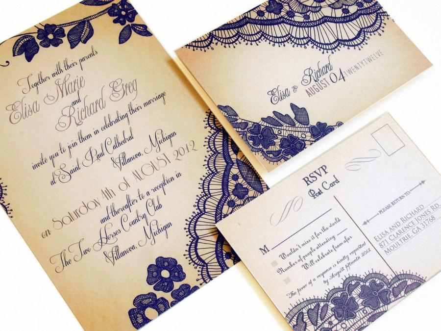 Rustic Lace Wedding Invitations Invitation Sample Bellevue Design