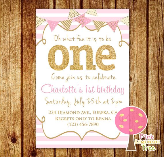 Beautiful Pink And Gold First Birthday Party Invitation, Gold Glitter, One  KN05