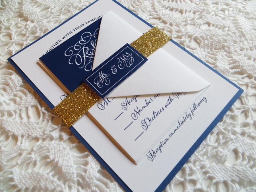 Navy Wedding Invitation With Gold Glitter Belly Band Blue