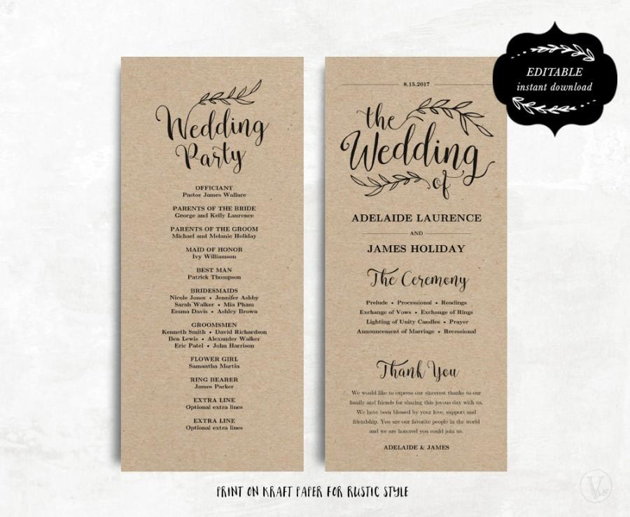Printable Wedding Program Template Kraft Paper Diy Editable Text 4 X9 25 Tea Length 3 Colors Included