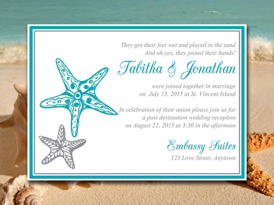 Beach Wedding Reception Invitation Template Blissful Starfish Post Destination Ocean Silver Diy Printable