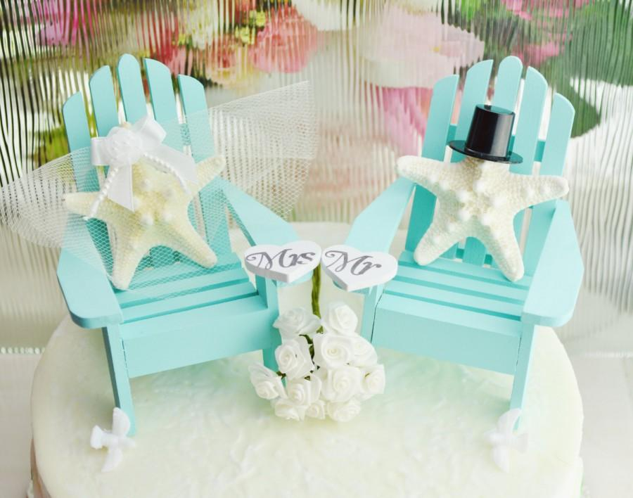 Wedding Cake Topper Robin S Egg Blue Miniature Adirondack Chairs By Starfish Bride Groom Beach Decor