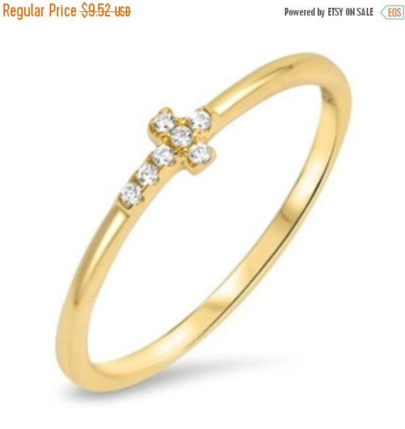Sideways Cross Ring 14k Yellow Gold Over 925 Sterling Silver Russian Diamond Clear White Pave Cz Religious Gift