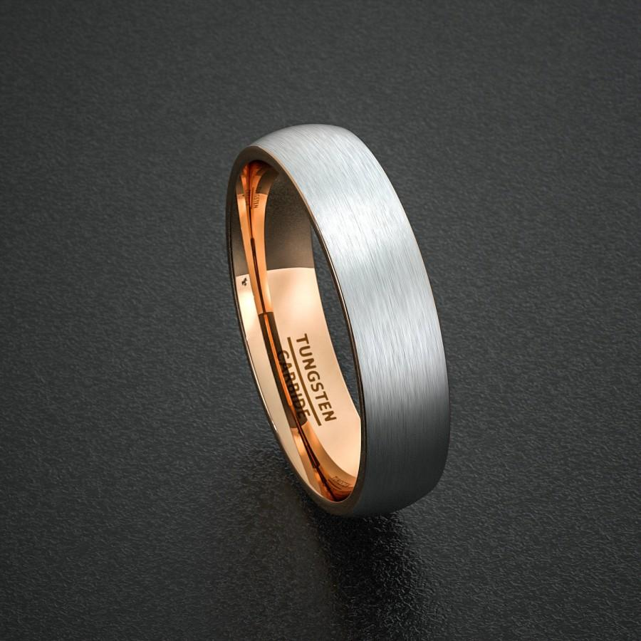 Mens Wedding Band Tungsten Ring Two Tone 6mm Brushed White With Rose Gold Inside Dome Comfort Fit