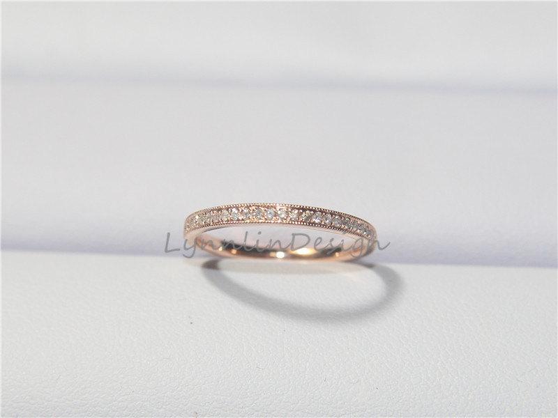 Simple Diamond Band Wedding Ring Anniversary Pee Diamonds Unique Style 14k Rose Gold Half Eternity Handmade Stackable