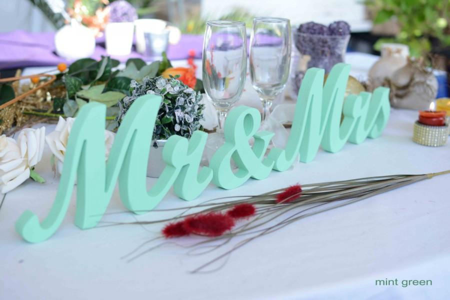 Mr And Mrs Wedding Letters Mint Green Sign Decoration Signs Glitter