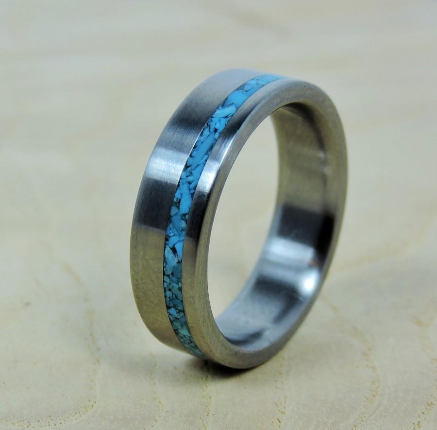 handmade mens rings wedding ring titanium with turquoise ring titanium ring 4433